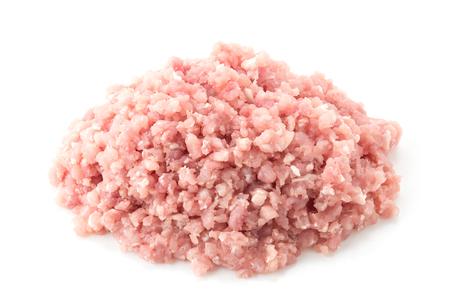 gehakt varkensvlees op een witte achtergrond Stockfoto