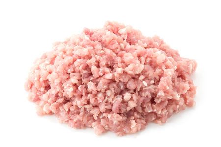 minced pork on white background
