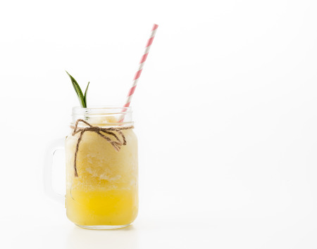 pineapple  glass: pineapple smoothie on white background Stock Photo