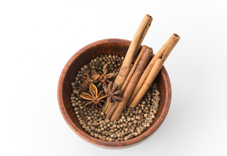 ingredient: five-spice ingredient on white background Stock Photo