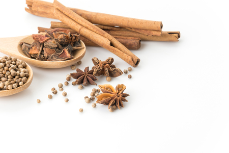 spicy cooking: five-spice ingredient on white background Stock Photo