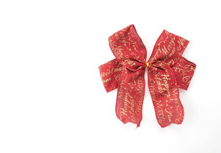 red ribbon bow: christmas bow on white background