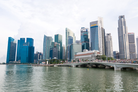 hubs: SINGAPORE, SINGAPORE - JULY 17 2015: View of downtown Singapore city. Singapore is one of the worlds major commercial hubs.