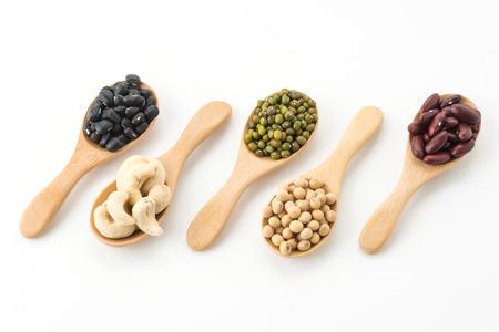 black beans: mix beans on white background Stock Photo
