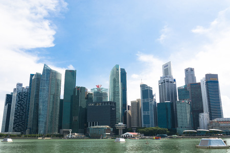 hubs: SINGAPORE, SINGAPORE - JULY 16 2015: View of downtown Singapore city. Singapore is one of the worlds major commercial hubs.