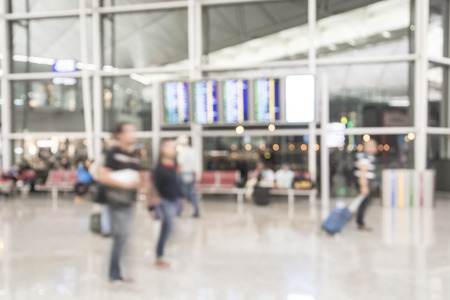 exhibition crowd: blurred people in airport Stock Photo