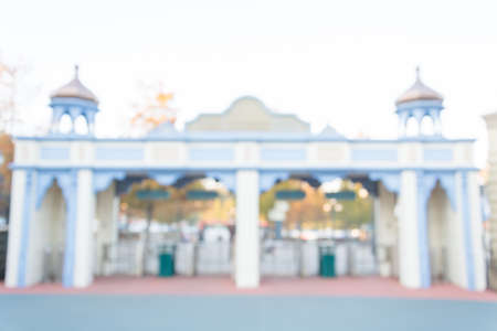 october 31: SOUTH KOREA - October 31: Blurred The Architecture and unidentified tourists are walking in Everland Resort, Yongin City, South Korea, on October 31, 2015