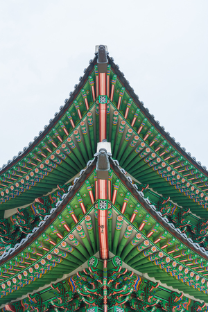Beautiful and Old Architecture in Gyeongbokgung Palace in Seoul City at Korea