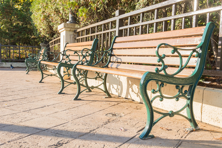 the flair: Benches in autumn park with flair