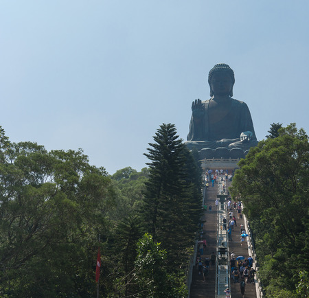enormous: The enormous Tian Tan Buddha at Po Lin Monastery in Hong Kong. Stock Photo