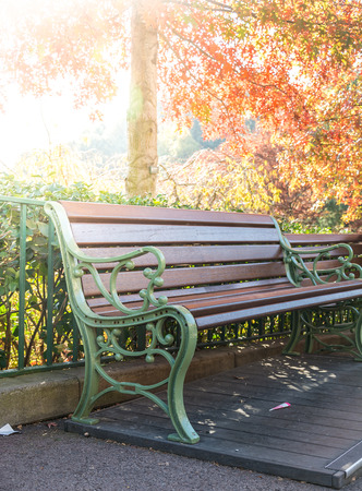 flair: Benches in autumn park with flair