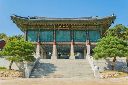 bongeunsa: Beautiful Architecture in Bongeunsa temple, Seoul city at Korea