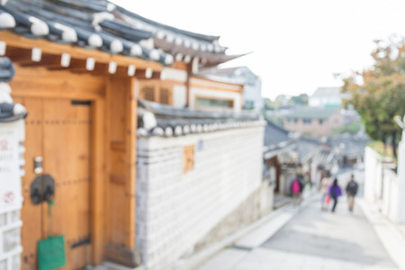 korean style house: Abstract blurred Traditional Korean style architecture at Bukchon Hanok Village in Seoul, South Korea.
