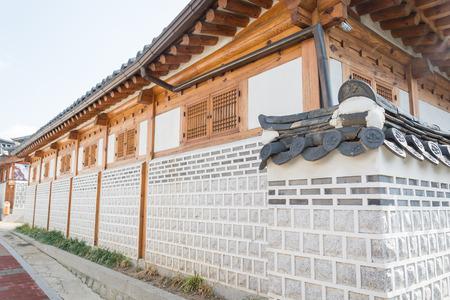korean style house: Traditional Korean style architecture at Bukchon Hanok Village in Seoul, South Korea.