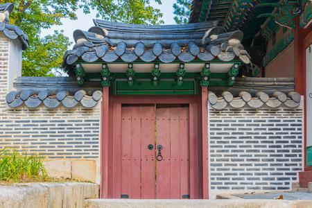 korean style house: old wood door in korea style