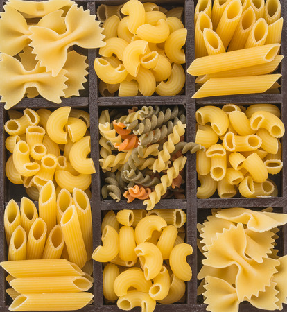 dry food: dry pasta spaghetti with ingredient Stock Photo