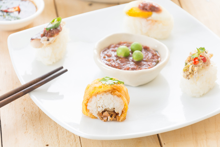 fusion: omelet sushi roll  - fusion food Stock Photo