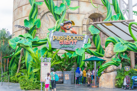 puss: SINGAPORE - JULY 20, 2015: Beautiful Puss in Boots Giant Journey roller coaster ride at Universal Studios. Editorial