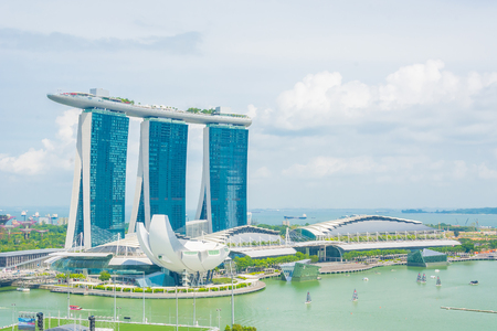 singapore skyline: SINGAPORE - July 18, 2015: ArtScience Museum is one of the attractions at Marina Bay Sands, an integrated resort in Singapore. Editorial