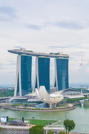SINGAPORE - July 18, 2015: ArtScience Museum is one of the attractions at Marina Bay Sands, an integrated resort in Singapore.