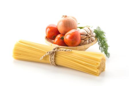 ingredient: dry pasta spaghetti with ingredient Stock Photo