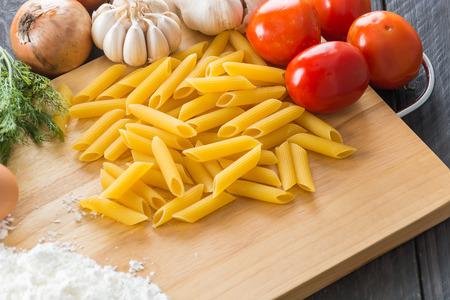 pasta: dry pasta spaghetti with ingredient Stock Photo