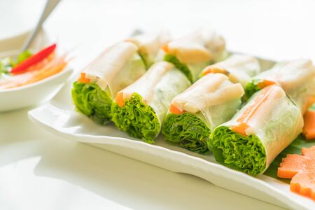cuon: noodle roll  in Vietnam style Stock Photo