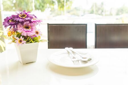dinning table: empty dinning table Stock Photo