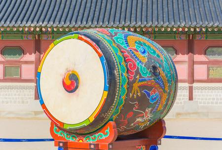 gyeongbokgung: Huge ceremonial drum at Gyeongbokgung Palace Editorial