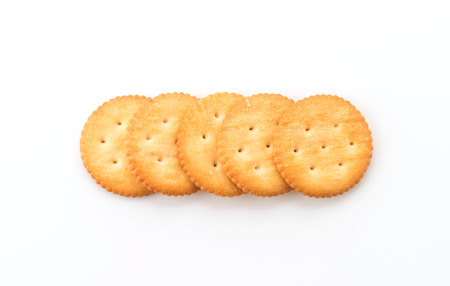 crackers or biscuits on white background