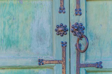door handle: Old metal handle door - Korea style Stock Photo