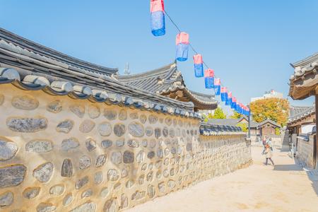 traditional house: Beautiful Architecture in Namsangol Hanok Village at Seoul Korea