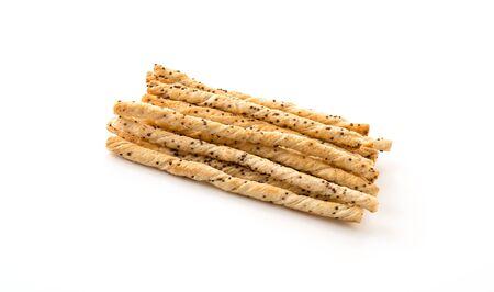 sesame cracker: bread stick on white background Stock Photo