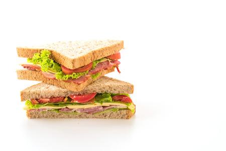 jamon y queso: sándwich en el fondo blanco Foto de archivo
