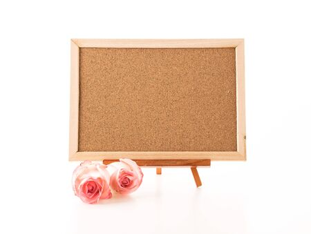 blank note: blank art board with rose Stock Photo