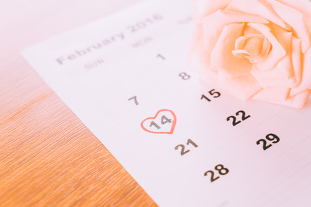 14: rose on the calendar with the date of February 14 Valentines day - sweety effect picture style