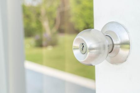 door knobs: Door knobs or aluminum door Stock Photo