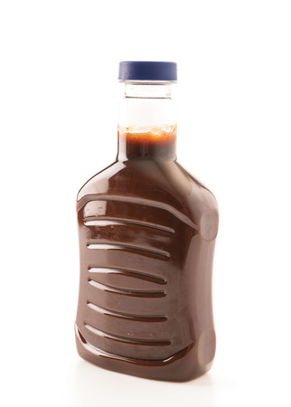 tomato catsup: barbecue sauce bottle on white background Stock Photo
