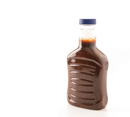 catsup: barbecue sauce bottle on white background Stock Photo