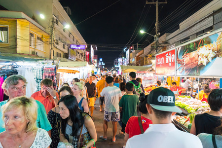 HUA HIN, THAILAND - Jan 22 2016: Tourists stroll at the night market in Hua Hin. The famous night market in Hua Hin is a major tourist attraction.