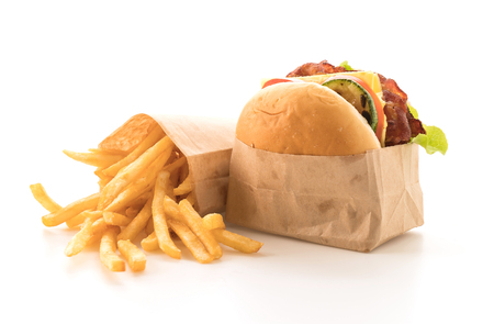 beef burger: Bacon burger with french fries on white background Stock Photo