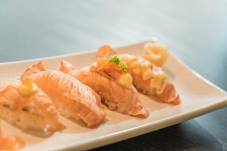 nigiri: salmon nigiri - japanese food Stock Photo
