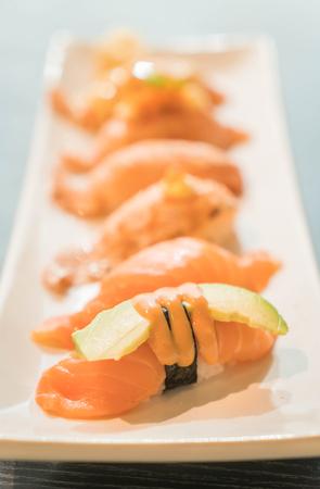 tuna mayo: salmon nigiri - japanese food Stock Photo