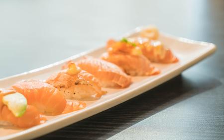 salmon nigiri - japanese food Stock Photo