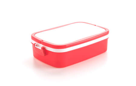 the carrier: plastic food carrier on white background Stock Photo