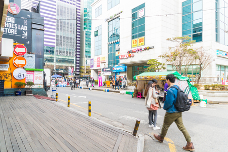 city fish market sign: Seoul , South Korea - Mar 8, 2016 :Hongdae Area , Hongik on March 8 2016, in Seoul South Korea. Place to show art and shopping district famous.