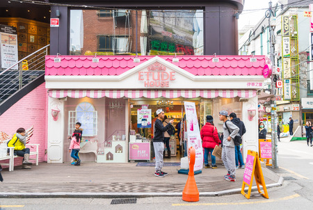 etude: Seoul , South Korea - Mar 8, 2016: Etude House store in Seoul. Etude House is a South Korean cosmetics brand owned by Amore Pacific.