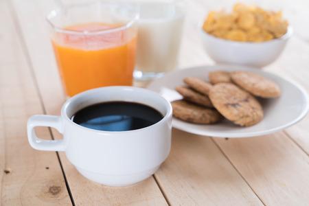 fruits juice: Table Breakfast - Continental Breakfast, fruit, cereals and orange juice Stock Photo
