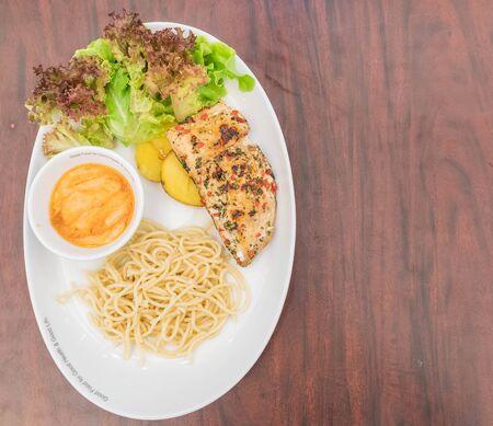 walleye: grill seabass fillet with honey tartar sauce