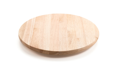 circle wood tray on white background 写真素材